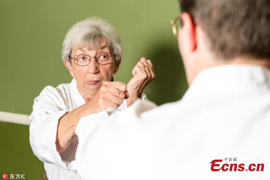"Ede Smith, a karate-mad pensioner dubbed 'ninja nan,' can break boards with her bare hands and flip grown men three times her weight ? despite being just 5ft 1in. The grandma-of-five got into karate five years ago after her grandson took her to a training session at his school. Ede, from Great Dalby village in Leicestershire, UK, said: ""I like karate because it proves to me that I'm capable of doing things that I didn't think I would be able to do otherwise."" She also said she had rheumatoid arthritis, a knee replacement and a high calcium count which left her unable to do much at all ? but it's never stopped her from enjoying karate."