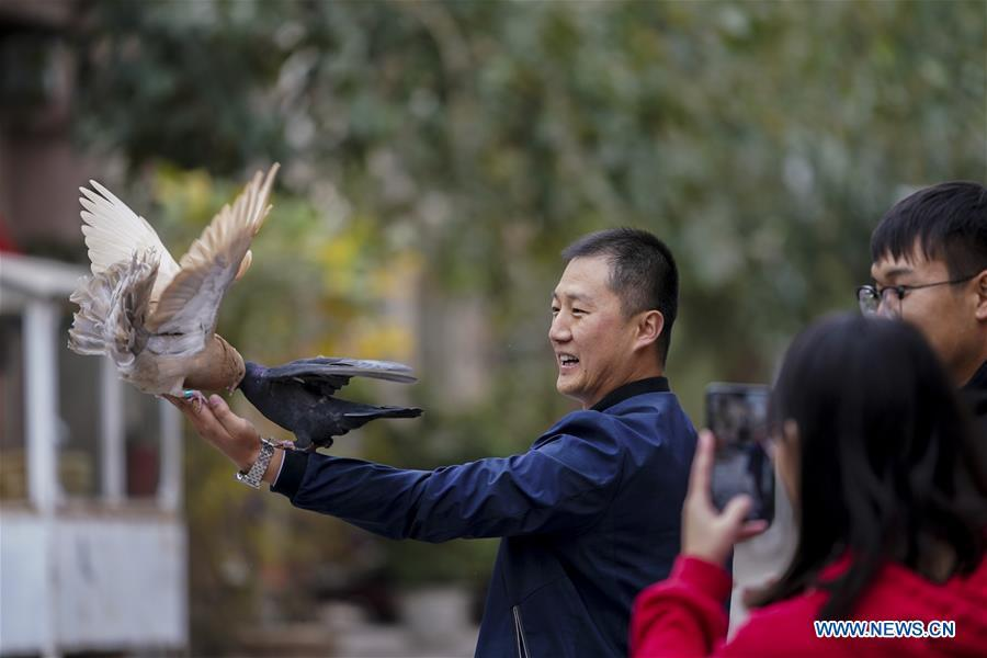 Tourists interact with pigeons in Kashgar City, northwest China\'s Xinjiang Uygur Autonomous Region, Oct. 16, 2018. The ancient oasis city of Kashgar, in the westernmost part of China near the border with Kyrgyzstan, Tajikistan, Afghanistan, and Pakistan, was an important staging post on the original Silk Road and has been revitalized as a bustling hub of business and different cultures. (Xinhua/Hu Huhu)