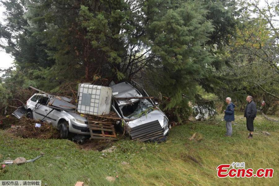 Damaged cars are seen after some of the worst flash floods in a century turned rivers into raging torrents that engulfed homes and swept away cars hit the southwestern Aude district of France, in Conques, France, Oct. 16, 2018. At least 12 people died. (Photo/Agencies)