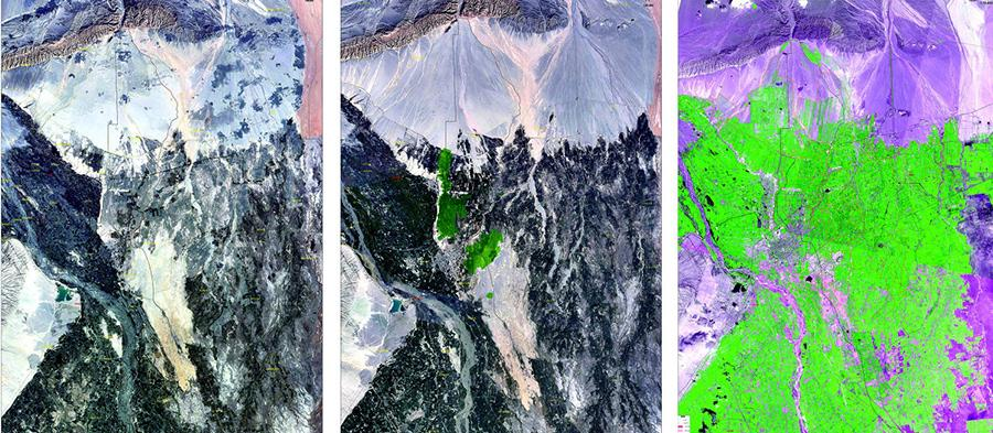 Satellite remote sensing images show Kekeya (from left to right) in 1987, 1995 and 2017. (Photo/Xinjiang Daily)