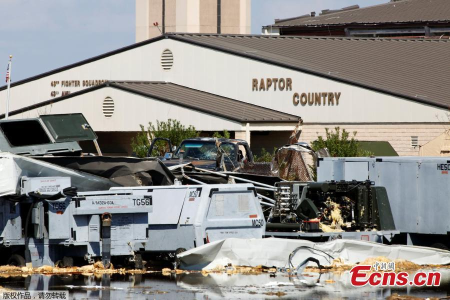 Damage caused by Hurricane Michael is seen on Tyndall Air Force Base, Florida, U.S., Oct. 16, 2018. Tyndall Air Force Base suffered catastrophic damage when Hurricane Michael tore through the Florida Panhandle, ripping roofs off airplane hangars, tossing vehicles around a parking lot and leaving a fighter jet that had been on display flipped over on the ground. (Photo/Agencies)