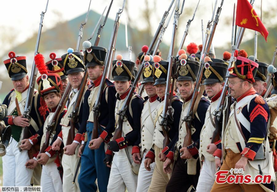 Troops arrive during the reconstruction of the Battle of the Nations at the 205th anniversary near Leipzig, Germany, Oct. 20, 2018. The Battle of Leipzig or Battle of the Nations, on 16?19 October 1813, was fought by the coalition armies of Russia, Prussia, Austria and Sweden against the French army of Napoleon. The battle decided that Napoleon had to retreat to France, the beginning of his downfall. (Photo/Agencies)