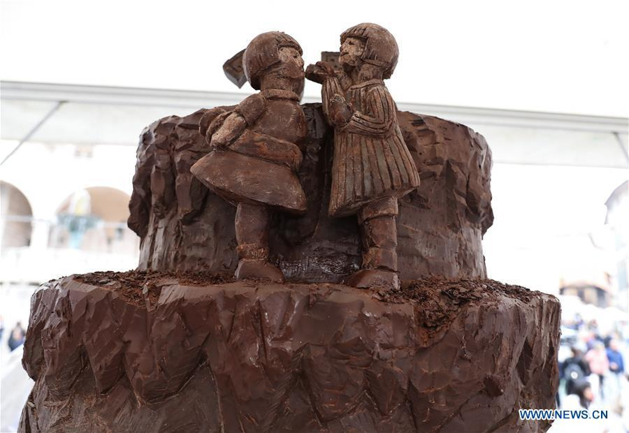 Photo taken on Oct. 21, 2018 shows a chocolate sculpture during the 25th international chocolate festival \