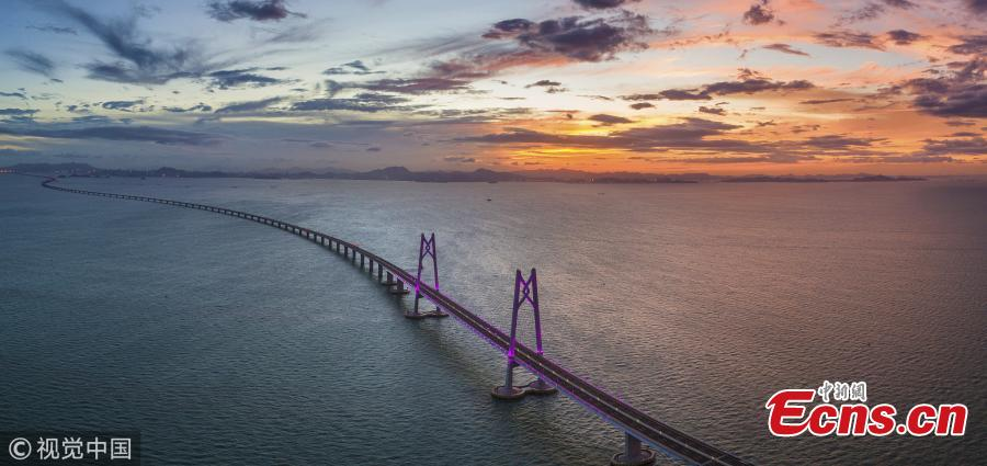 The Hong Kong-Zhuhai-Macao Bridge. The bridge connecting the east and west sides of the Pearl River Delta in South China will officially open on Tuesday. (Photo/VCG)