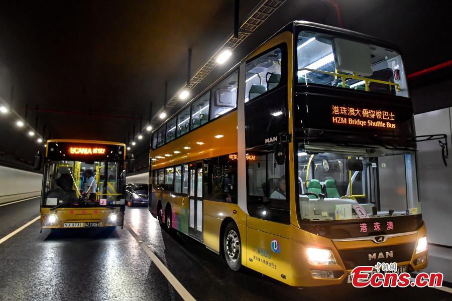 <?php echo strip_tags(addslashes(The shuttle bus of the Hong Kong-Zhuhai-Macao Bridge. (Photo: China News Service/Chen Jimin))) ?>