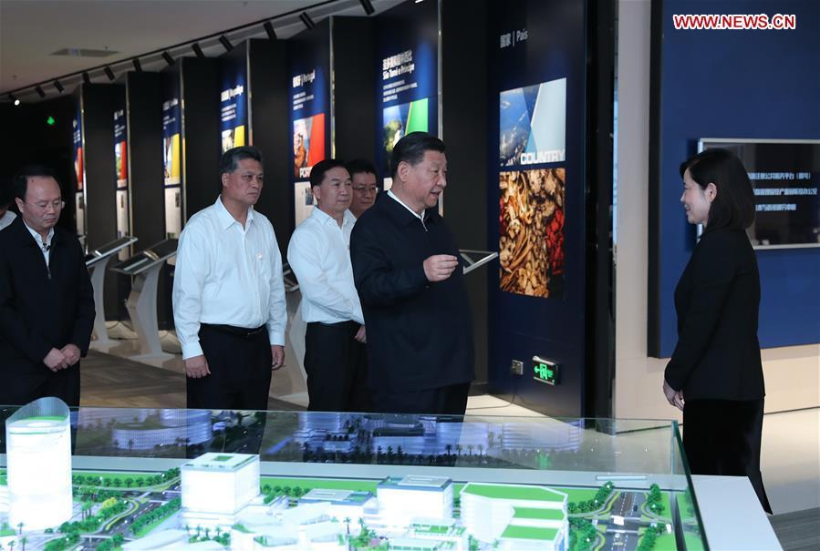 Chinese President Xi Jinping, also general secretary of the Communist Party of China Central Committee and chairman of the Central Military Commission, visits the Traditional Chinese Medicine Science and Technology Industrial Park of Co-operation between Guangdong and Macao in Zhuhai, south China\'s Guangdong Province, Oct. 22, 2018. Xi made an inspection tour in Zhuhai on Monday. (Xinhua/Ju Peng)