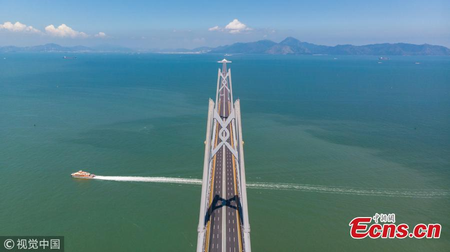 A bridge tower in the shape of a Chinese knot, part of the Hong Kong-Zhuhai-Macao Bridge. (Photo/VCG)