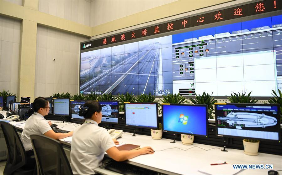 Photo taken on Oct. 10, 2018 shows the monitoring center of the Hong Kong-Zhuhai-Macao Bridge. (Xinhua/Deng Hua)