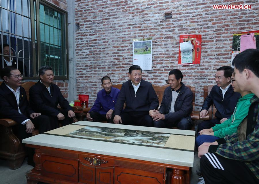 Chinese President Xi Jinping, also general secretary of the Communist Party of China Central Committee and chairman of the Central Military Commission, visits a poverty-stricken family in Lianzhang Village, Lianjiangkou Township, Yingde of Qingyuan City, south China\'s Guangdong Province, during an inspection tour, Oct. 23, 2018. (Xinhua/Ju Peng)