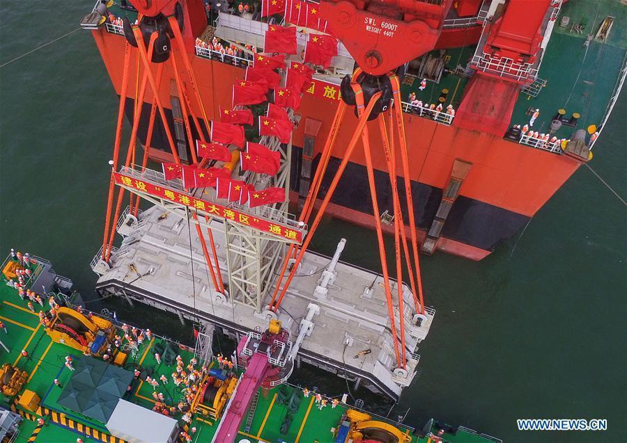 Aerial photo taken on May 2, 2017 shows the construction site of the Hong Kong-Zhuhai-Macao Bridge. (Xinhua/Liu Dawei)