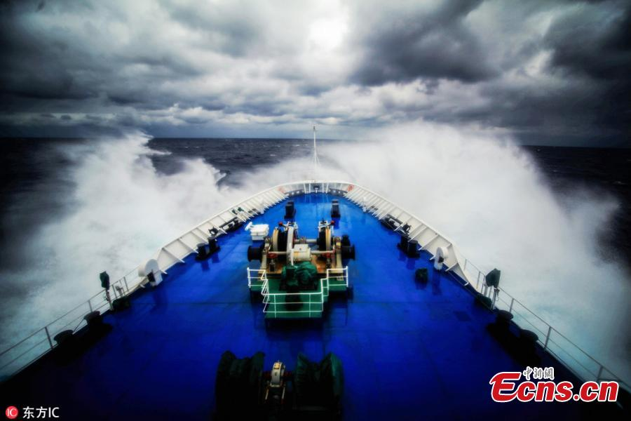 Photos taken from onboard the Chinese space-tracking ship Yuanwang-3 during its voyage in the Pacific Ocean, Oct. 23, 2018. Yuanwang-3 departed on Oct. 2 to carry out four maritime space monitoring and communication missions for the BeiDou-3 and other satellites in the Pacific Ocean. (Photo/IC)