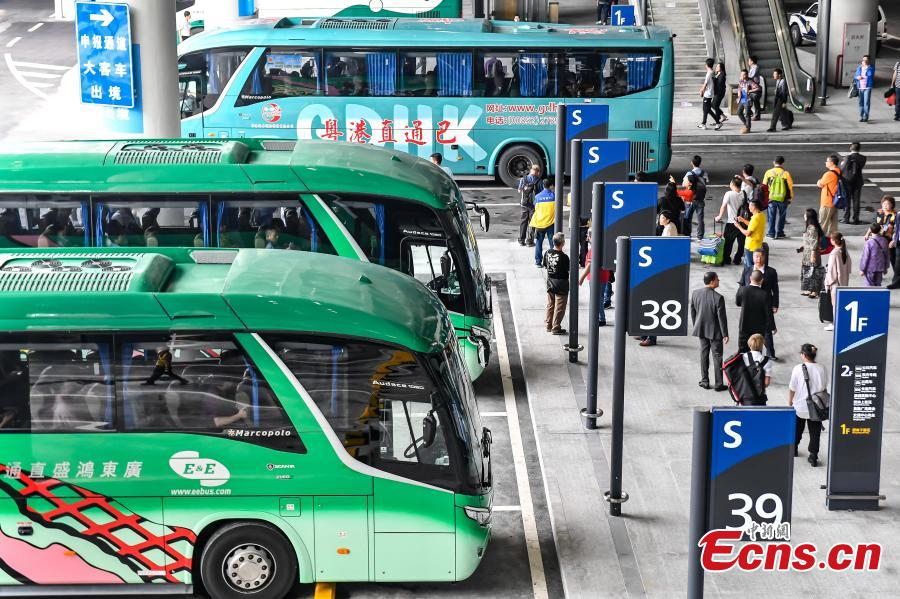 <?php echo strip_tags(addslashes(Coaches at the Zhuhai Port of the Hong Kong-Zhuhai-Macao Bridge, Octo. 24, 2018. (Photo: China News Service/ Chen Jimin))) ?>