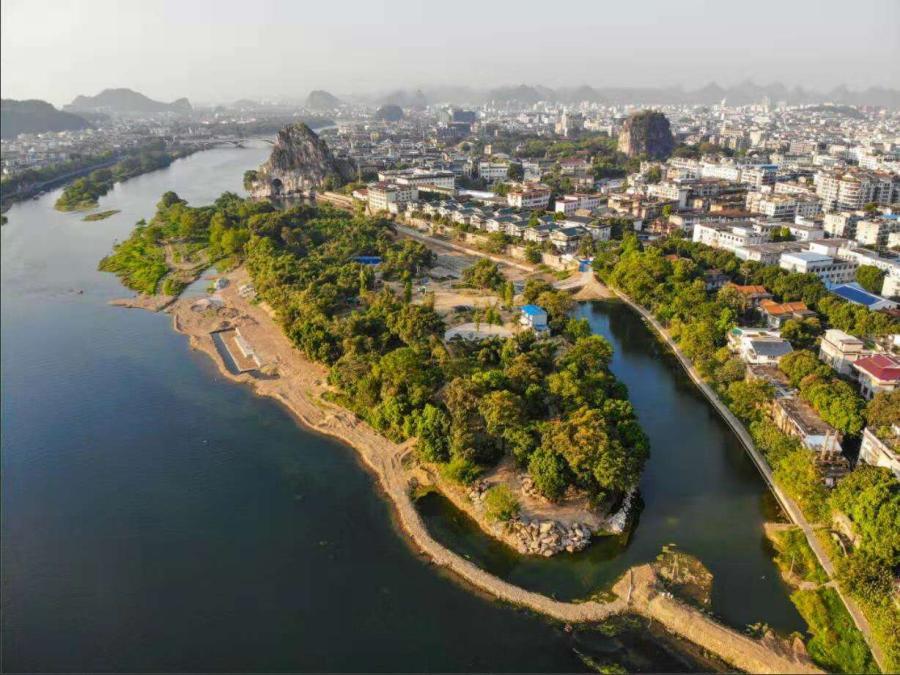 A bird\'s-eye view of Fulongzhou island in Guilin.(Photo/CGTN)  \