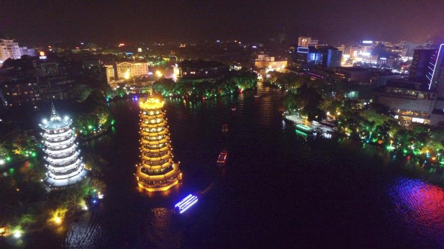 A night view of Guilin. (Photo/CGTN)  \