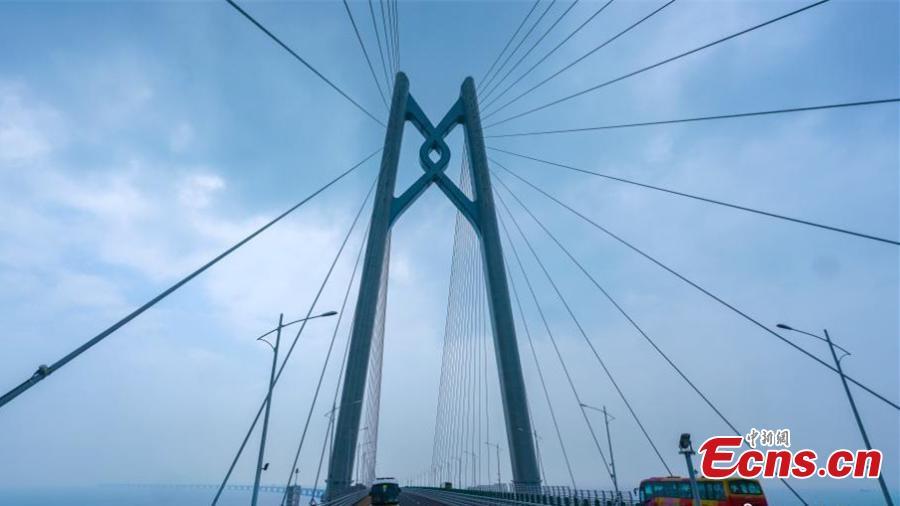 A coach passes the Qingzhou shipping channel bridge, part of the Hong Kong-Zhuhai-Macao Bridge, Octo. 24, 2018. (Photo: China News Service/Zhang Wei)