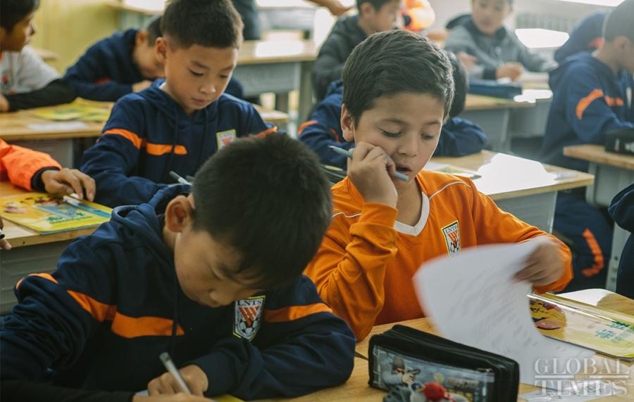 During the day, the young athletes study in class. (Photo: Li Hao/GT)