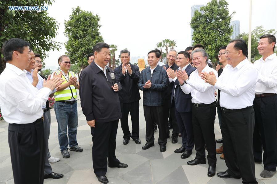Chinese President Xi Jinping, also general secretary of the Communist Party of China Central Committee and chairman of the Central Military Commission, visits China (Guangdong) Pilot Free Trade Zone Qianhai & Shekou Area in Shenzhen, south China\'s Guangdong Province, during an inspection tour, Oct. 24, 2018. (Xinhua/Ju Peng)