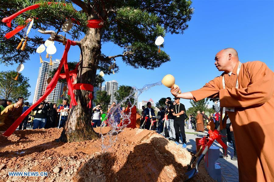 Guests for the fifth World Buddhist Forum attend a tree planting activity in Putian, southeast China\'s Fujian Province, Oct. 28, 2018. A record number of over 1,000 Buddhists, scholars and representatives from 55 countries and regions attended the fifth World Buddhist Forum, which will last until Oct. 30.(Xinhua/Wei Peiquan)