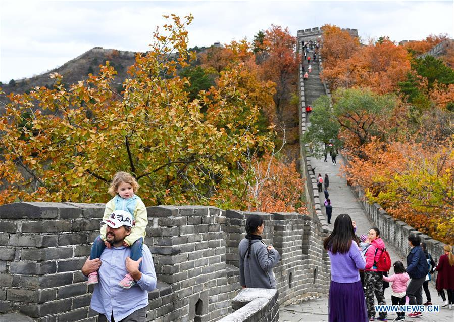 Tourists view the autumn scenery at the Mutianyu Great Wall in Beijing, capital of China, Oct. 28, 2018. (Xinhua/Chen Yehua)