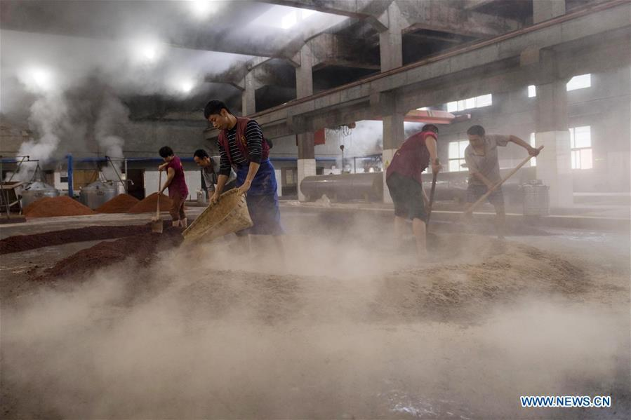 Workers process sorghum grains at a distillery in Maotai town in the city of Renhuai in southwest China\'s Guizhou Province, Oct. 28, 2018. Maotai is a small town in Renhuai City in mountainous Guizhou. What distinguishes it from other Chinese small towns is that it produces a famous brand of Chinese liquor Moutai, which often served on official occasions and at state banquets. The spirit, made from sorghum and wheat, takes up to five years for the whole production process, involving nine times of steaming, eight times of fermentation and seven times of distillation, before aged in clay pots. Moutai is also considered a luxury item that has long been a popular gift. China\'s alcohol industry earned about 1 trillion yuan in revenue in 2017. The total profits rose by 36 percent year on year to over 100 billion yuan, according to China National Light Industry Council. (Xinhua/Chen Yong)