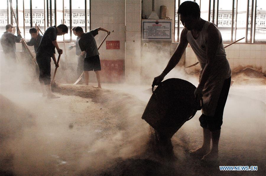 Workers process sorghum grains at a distillery of Kweichow Moutai in Maotai town in the city of Renhuai in southwest China\'s Guizhou Province, Oct. 23, 2018. Maotai is a small town in Renhuai City in mountainous Guizhou. What distinguishes it from other Chinese small towns is that it produces a famous brand of Chinese liquor Moutai, which often served on official occasions and at state banquets. The spirit, made from sorghum and wheat, takes up to five years for the whole production process, involving nine times of steaming, eight times of fermentation and seven times of distillation, before aged in clay pots. Moutai is also considered a luxury item that has long been a popular gift. China\'s alcohol industry earned about 1 trillion yuan in revenue in 2017. The total profits rose by 36 percent year on year to over 100 billion yuan, according to China National Light Industry Council. (Xinhua/Lin Liping)