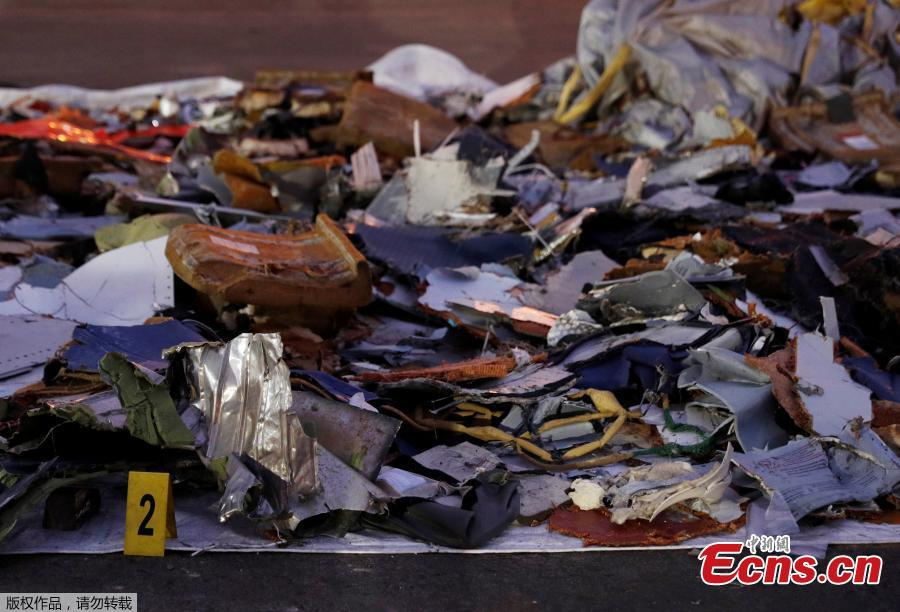 Recovered aircraft debris from the crashed Lion Air flight JT610 are laid out at Tanjung Priok port in Jakarta, Indonesia, November 1, 2018.(Photo/Agencies)