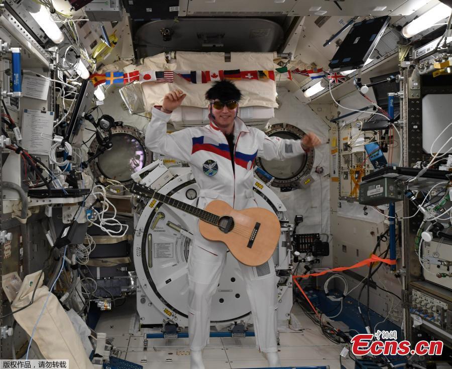 International Space Station (ISS) crew member Sergey Prokopyev of Russia, dressed as Elvis Presley, marks Halloween in this photo released November 1, 2018.  (Photo/Agencies)