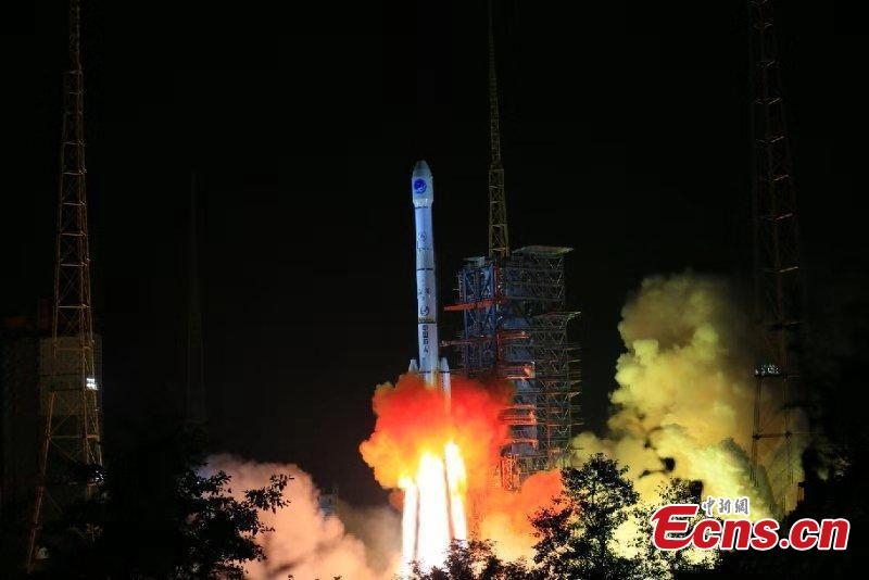 China\'s home-grown global satellite navigation system came a step closer to completion with the launch of another BeiDou-3 satellite at 11:57 p.m. Thursday from the Xichang Satellite Launch Center, in the southwestern Sichuan Province. Launched on a Long March-3B carrier rocket, it is the 41st of the BeiDou navigation system, and will work with 16 other Beidou-3 satellites already in orbit. It is also the first BeiDou-3 satellite in high orbit, about 36,000 km above the Earth. In a geostationary orbit, following the Earth\'s rotation, it will view the same point on Earth continuously. (Photo: China News Service/Liang Keyan)