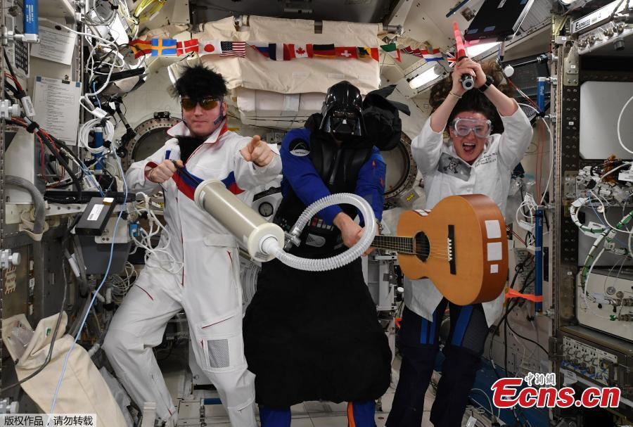 International Space Station (ISS) crew members Serena Aunon-Chancellor of the U.S, Alexander Gerst of Germany and Sergey Prokopyev of Russia mark Halloween in this photo released November 1, 2018.(Photo/Agencies)