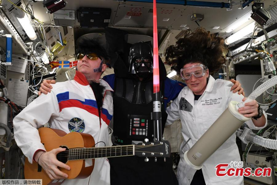 International Space Station (ISS) crew members Serena Aunon-Chancellor of the U.S, Alexander Gerst of Germany and Sergey Prokopyev of Russia mark Halloween in this photo released November 1, 2018. (Photo/Agencies)