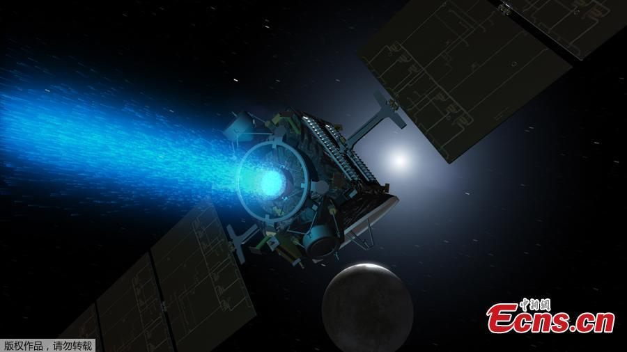 This NASA artist\'s concept obtained November 1, 2018 shows NASA\'s Dawn spacecraft arriving at the dwarf planet Ceres (lower right), travelling through space using a technology called ion propulsion, in which ions are accelerated out of an engine, giving the spacecraft thrust, the xenon ions glow with blue light. - Dawn, a NASA spacecraft that launched 11 years ago and studied two of the largest objects in the asteroid belt, has ended its mission after running out of fuel, officials said November 1, 2018. Scientists have known for about a month that Dawn was essentially out of its fuel, hydrazine, which kept the spacecraft\'s antennae oriented toward Earth and helped it turn its solar panels to the Sun to recharge.  Then, the spacecraft missed scheduled communications with NASA\'s Deep Space Network on Wednesday and Thursday, and the space agency declared it formally dead. (Photo/Agencies)