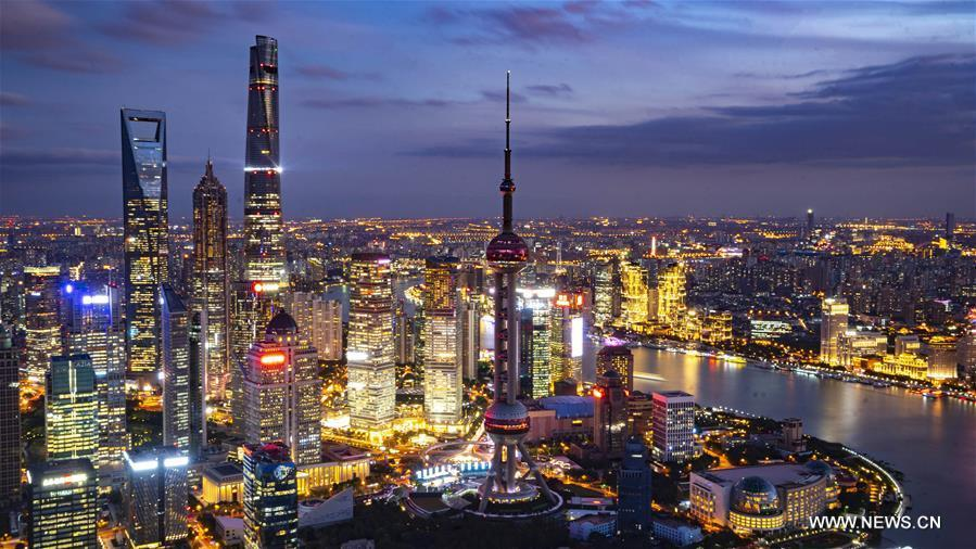 Photo taken on Nov. 1, 2018 shows the night view of Shanghai, east China. The first China International Import Expo (CIIE) will be held on Nov. 5-10 in Shanghai. (Xinhua/Cai Yang)
