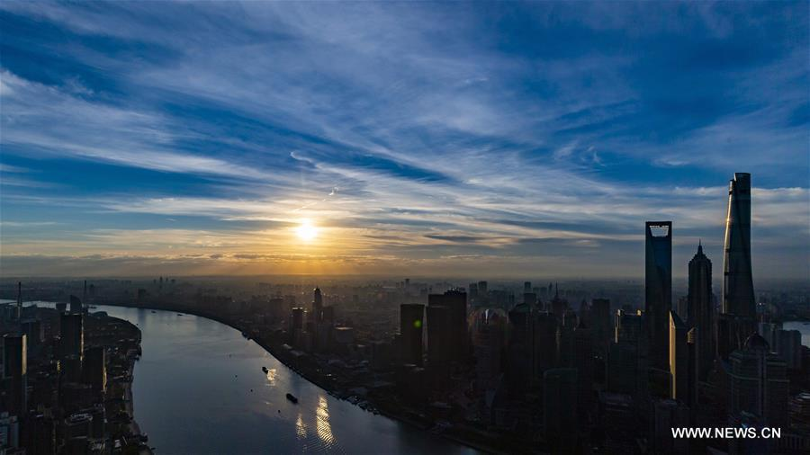 Photo taken on Nov. 1, 2018 shows skyscrapers at dawn in Shanghai, east China. The first China International Import Expo (CIIE) will be held on Nov. 5-10 in Shanghai. (Xinhua/Shen Bohan)