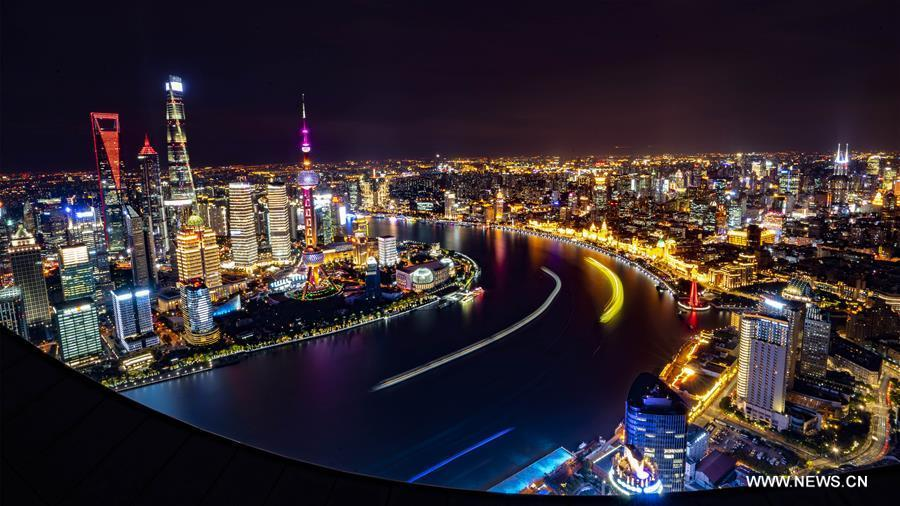 Photo taken on Nov. 2, 2018 shows the night view of Shanghai, east China. The first China International Import Expo (CIIE) will be held on Nov. 5-10 in Shanghai. (Xinhua/Cai Yang)