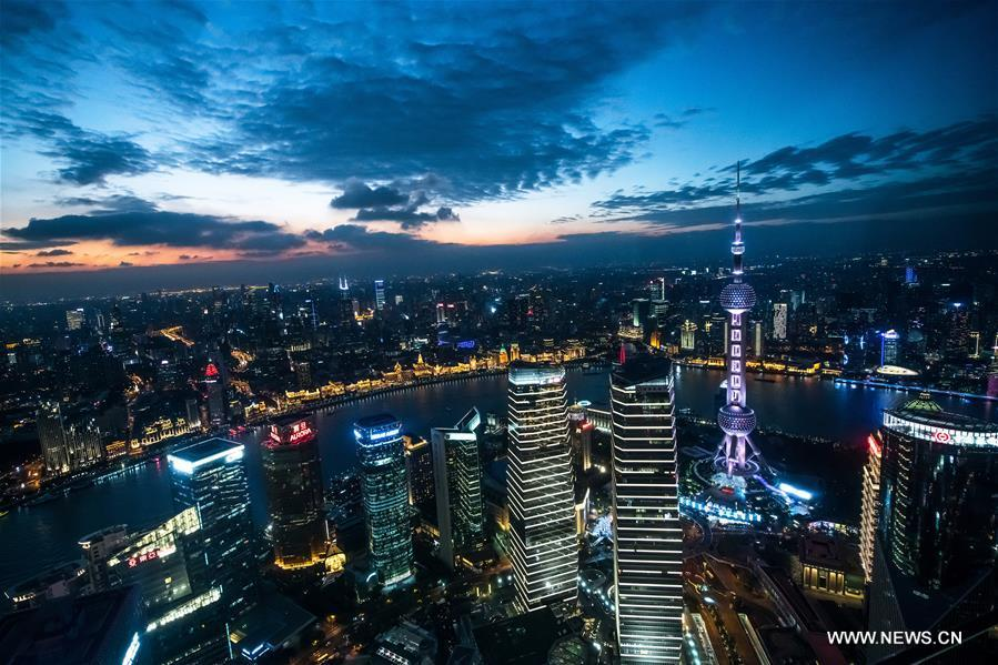 Photo taken on Nov. 3, 2018 shows the night view of Shanghai, east China. The first China International Import Expo (CIIE) will be held on Nov. 5-10 in Shanghai. (Xinhua/Li Xin)