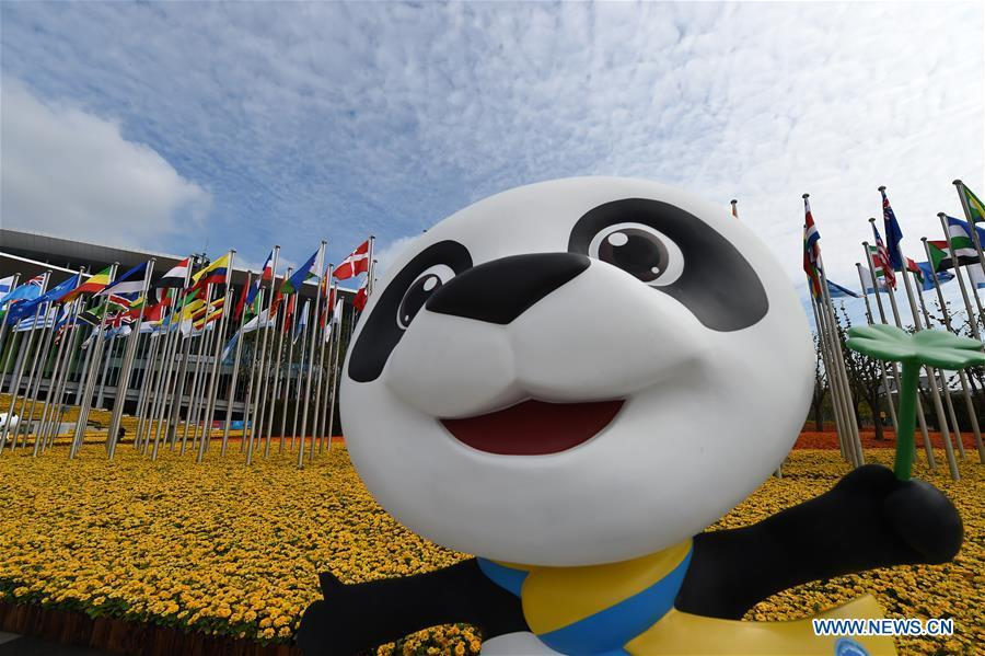 Jinbao, mascot of the first China International Import Expo (CIIE), is seen in front of the National Exhibition and Convention Center (Shanghai), the main venue to hold the CIIE, in Shanghai, east China. The CIIE is scheduled to be held from Nov. 5 to 10 in Shanghai.(Xinhua/Han Yuqing)(wsw)