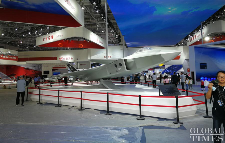 A model of a Chinese stealth fighter jet J-20 is displayed inside a venue at Air Show China 2018.  (Photo: Yang Sheng/GT)