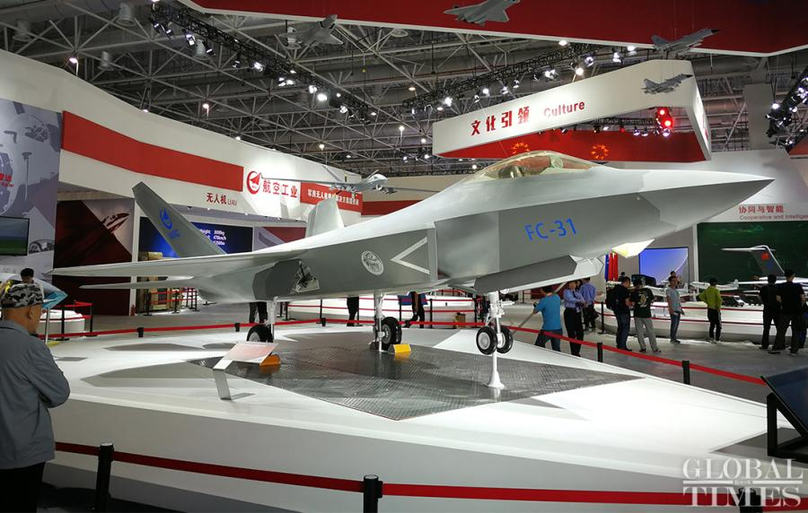 A model of an FC-31 fighter jet is displayed.  (Photo: Yang Sheng/GT)