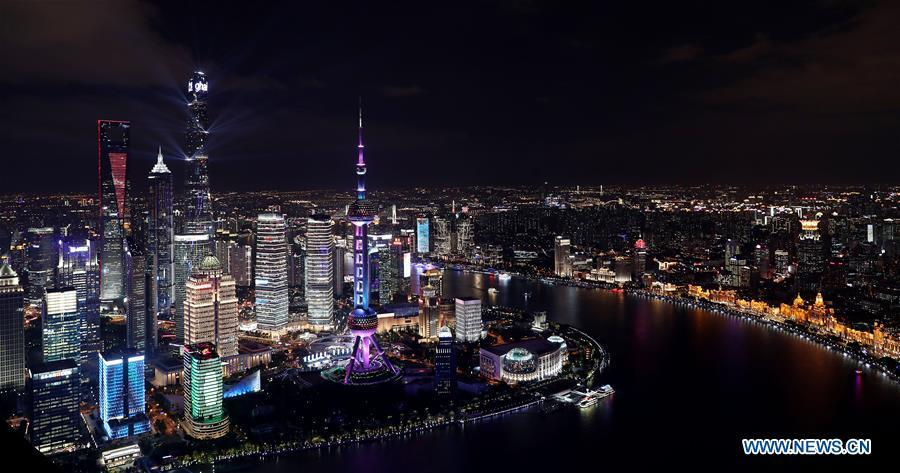 Photo taken on Nov. 1, 2018 shows the night view of Shanghai, east China. The first China International Import Expo (CIIE) will be held on Nov. 5-10 in Shanghai. (Xinhua/Fang Zhe)