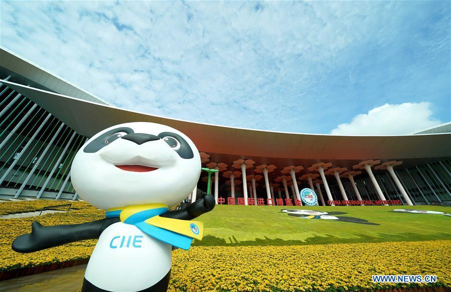 Jinbao, mascot of China International Import Expo (CIIE), is seen at the National Exhibition and Convention Center (Shanghai), the main venue of the upcoming first CIIE in Shanghai,east China, Nov. 4, 2018. The expo is scheduled to be held here from Nov. 5 to 10. (Xinhua/Chen Jianli)
