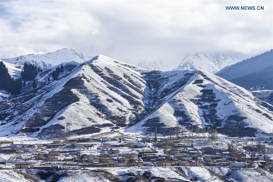 Photo taken on Nov. 4, 2018 shows snow scenery of a village in southern Urumqi, capital of northwest China\'s Xinjiang Uygur Autonomous Region. (Xinhua/Du Gang)