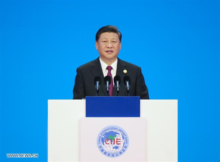 Chinese President Xi Jinping delivers a keynote speech at the opening ceremony of the first China International Import Expo in Shanghai, east China, Nov. 5, 2018.(Xinhua/Yao Dawei)