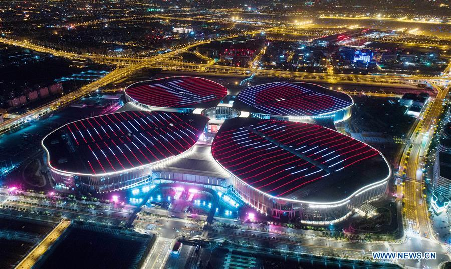 Aerial photo taken on Oct. 21, 2018 shows the National Exhibition and Convention Center (Shanghai), the main venue of the upcoming first China International Import Expo (CIIE), scheduled to be held from Nov. 5 to 10, in Shanghai, east China. (Xinhua/Ding Ting)