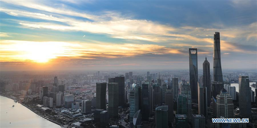 Photo taken on Nov. 1, 2018 shows skyscrapers at dawn in Shanghai, east China. The first China International Import Expo (CIIE) will be held on Nov. 5-10 in Shanghai. (Xinhua/Fang Zhe)