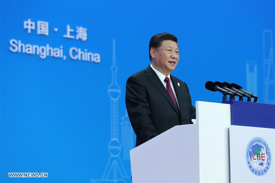 Chinese President Xi Jinping delivers a keynote speech at the opening ceremony of the first China International Import Expo in Shanghai, east China, Nov. 5, 2018.(Xinhua/Xie Huanchi)
