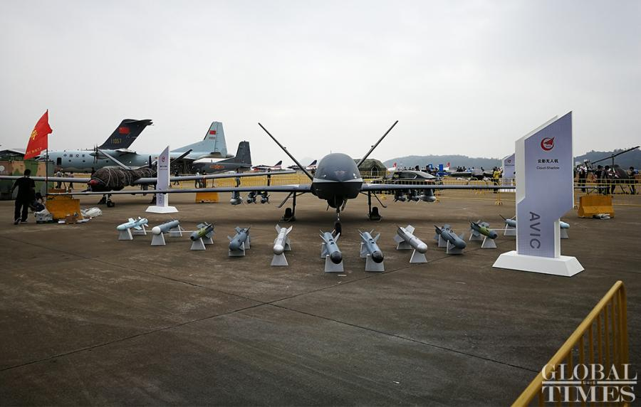 The Cloud Shadow UAV, independently developed by Aviation Industry Corp. of China, will make an appearance at Air Show China 2018 in Zhuhai. The Cloud Shadow is a high-altitude, high-speed UAV with both reconnaissance and attack capabilities.  (Photo: Yang Sheng/GT)  Air Show China 2018 is set for takeoff in Zhuhai, South China\'s Guangdong Province on November 6, featuring demonstrations of the latest fighter jets and weaponry over the six-day event.