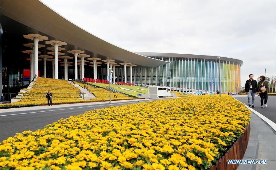 Photo taken on Nov. 2, 2018 shows flowers at the National Exhibition and Convention Center (Shanghai), the main venue of the upcoming first China International Import Expo (CIIE), in Shanghai,east China. The expo is scheduled to be held here from Nov. 5 to 10. (Xinhua/Fang Zhe)