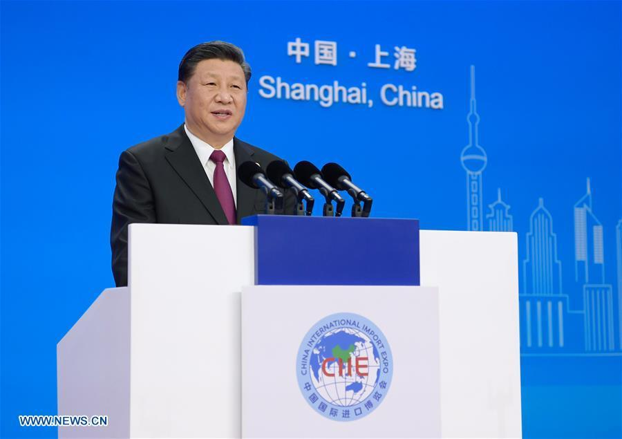 Chinese President Xi Jinping delivers a keynote speech at the opening ceremony of the first China International Import Expo in Shanghai, east China, Nov. 5, 2018.(Xinhua/Li Xueren)