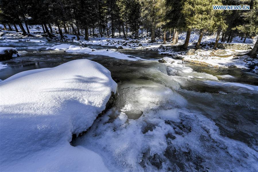 Photo taken on Nov. 4, 2018 shows snow scenery of a creek in Nanshan scenic spot in southern Urumqi, capital of northwest China\'s Xinjiang Uygur Autonomous Region. (Xinhua/Hu Huhu)