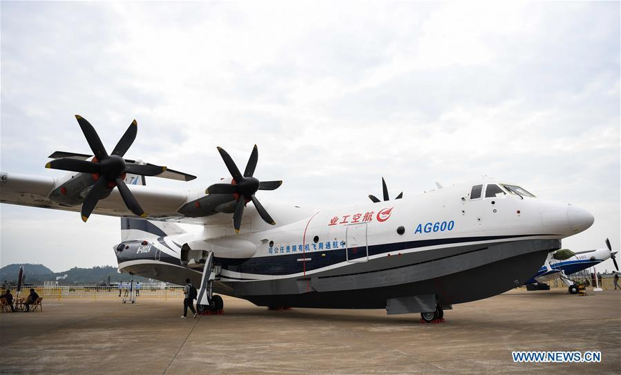 Photo taken on Nov. 5, 2018 shows AG600, China\'s independently-developed large amphibious aircraft, at the exhibition area of the upcoming China International Aviation and Aerospace Exhibition in Zhuhai, south China\'s Guangdong Province. The exhibition is scheduled to be held on Nov. 6-11. (Xinhua/Deng Hua)